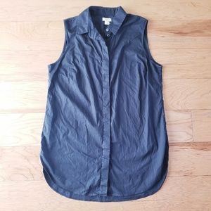 J. Crew Facotry Sleeveless Button Down Top Black 6
